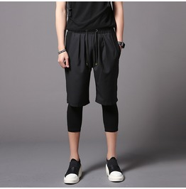 Men's Black Shorts Fake Two Pieces Leggings Pants