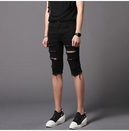Men's Slim Fit Shorts Black Skinny Ripped Short Pants