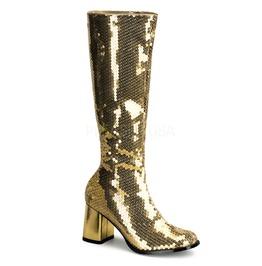 Gold Sequin Go Go Mod Disco Dancer 60s 70s Boots