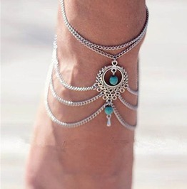 Boho Beach Beads Tassel Chain Anklet
