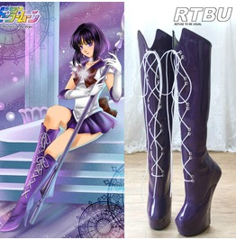 Cosplay Anime Sailor Moon Saturn Purple Knee Hi Heelless Pony Hoof Sole