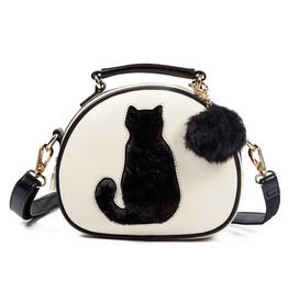 Cat Design Crossbody Handbag With Fur Ball Women