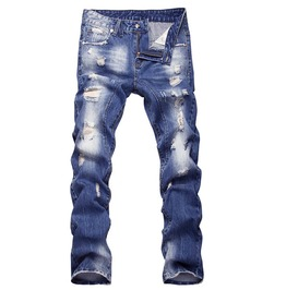 Distressed Ripped Light Wash Low Rise Straight Denim Jeans Men