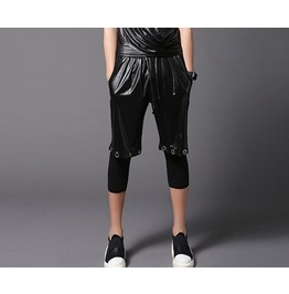 Men's Shorts Legging Faux Leather Hip Hop Street Dance