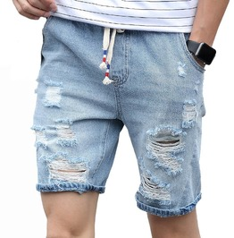 Distressed Ripped Drawstring Waist Summer Casual Cut Off Denim Shorts Men