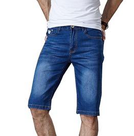 Summer Stretch Lightweight Blue Denim Jeans Short Men Plus Size