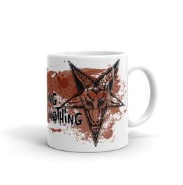 Question Everything Blood Splatters White Mug 11oz