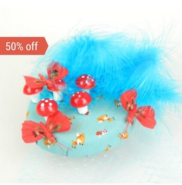 Sale! Pillbox Fascinator Feathered Butterflies, Mushrooms, Cascading Veil