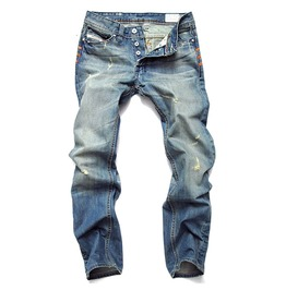 Distressed Ripped Light Wash Straight Slim Casual Biker Denim Jeans Men