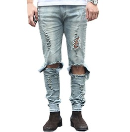 Ripped Jeans With Holes Skinny Pencil Men Denim Pants