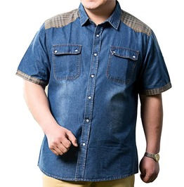 Patchwork Cowboy Short Sleeve Denim Shirt Men Plus Size