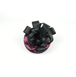 Pillbox Hat Fascinator Headpiece Hot Pink Lace & Black Satin Flower Bow