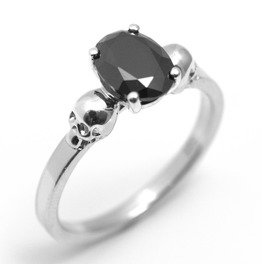 Skull Ring 1.4ct Black Diamond Unique Oval Stone Engagement Ring