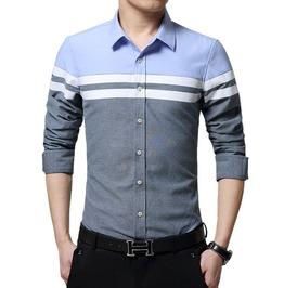 Stripe Design Slim Fit Long Sleeve Dress Shirt Men