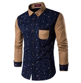 Paint Splatter Design Patchwork Long Sleeve Dress Shirt Men