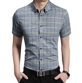 Plaid Short Sleeve Dress Shirt Men