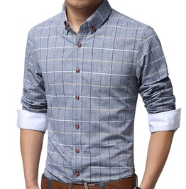 Plaid Slim Fit Long Sleeve Dress Shirt Men