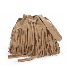 Women Faux Suede Boho Fringe Cross Body Bag Single Strap