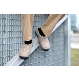 Men Wool Felt Slip On Travel Shoes Organic Rustic