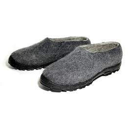 Custom Made Men Natural Wool Loafer Charcoal