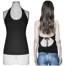 Women Black Tank Top Open Back Stretchy Cotton Gothic Fever Sexy Top