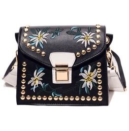 Women Rivet Zipper Shoulder Hand Bag With Floral Detail