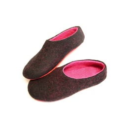Custom Made Women's Merino Wool House Shoes Black Pink Peony