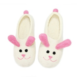 Smiling Bunny Ears Warm Natural Wool Women's Shoes White Pink