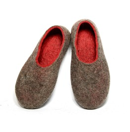Custom Made Eco Friendly Women's Felted Slippers Chocolate Strawberry Red