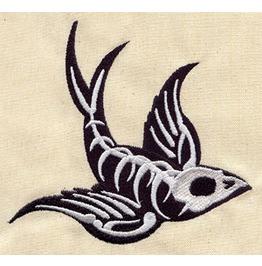 Sparrow Swallow Skeleton Bird Skull Iron/Sew On Embroidered