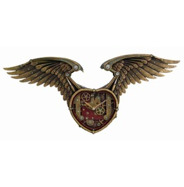 Steampunk Winged Heart Clock V8882