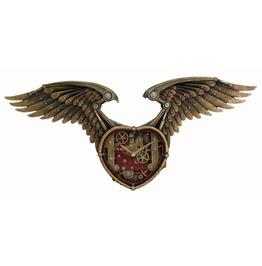 Steampunk Winged Heart Clock V8882
