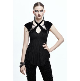 Cross Neck Straps Short Sleeves Gothic Tops