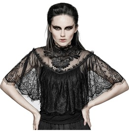 Lace Floral See Thru Short Sleeves Gothic Tops