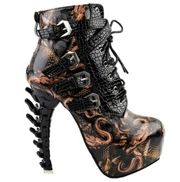 High Bone Heels Snake Pattern Lace Up Punk Boots
