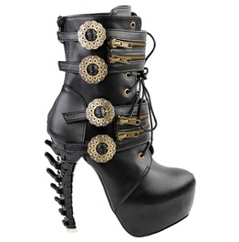 High Bone Heels Zippy Buckle Straps Lace Up Punk Boots