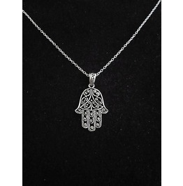 Antique Silver Plated Filigree Hamsa Hand Charm Pendant Chain Necklace