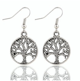 Chic Fashion Vintage Tibetan Antique Silver Plated Life Tree Drop Earrings