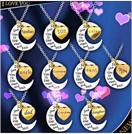 Engravement Family Messages I Love You To The Moon & Back Pendant Necklace