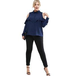Women Cold Shoulder Ruffle Detail Casual Blouse Plus Size