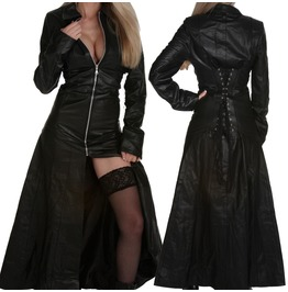 Women Log Gothic Coat Genuine Leather Fashion Front Zipper Coat Dress