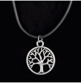 Silver Plated Black Leather Cord Family Tree Of Life Charm Pendant Necklace