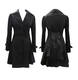 Women Gothic Victorian Corset Riding Jacket Black Gothic Steampunk Coat