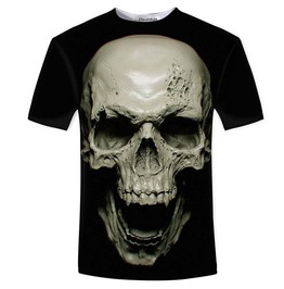3 D Print Laughing Skull Rock Black T Shirt Men