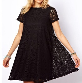 Short Sleeved Summer Hollow Out Lace Dress A Line Style