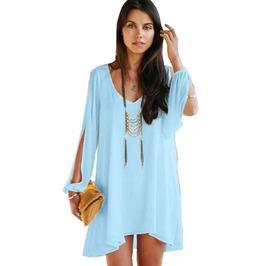 Casual Chiffon Women Off The Shoulder Plus Size Mini Dress