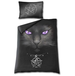 Spiral Black Cat Reversible Single Duvet Cover Day Of The Dead Gothic Occul