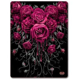 Gothic Fleece Blanket Throw Blood Rose Alternative Goth