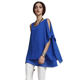 Women Asymmetrical Chiffon Batwing Sleeved Blouse Plus Size