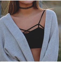 Sexy Cut Out Top Black Crop Top String Bra